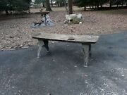 Industrial Iron Table Garden Stand Bench From Machine Shop Large Heavy Antique