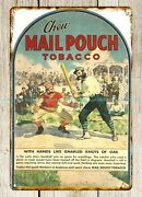 Accessory House Mail Pouch Tobacco 19th Century Baseball Metal Tin Sign