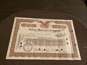 Antique Indian Motocycle Motorcycle Co Brown Eagle Stock Certificate 1942