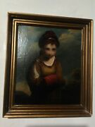 Antique Oil Painting From 1800and039s Old Masters Demure Innocence Servant Girl