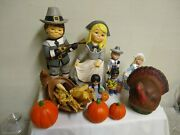Thanksgiving Hand-painted Ceramic Figurines Decorations Lot Of 11 Items Vintage