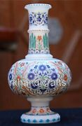 12 Inches White Marble Flower Pot Hand Inlaid Flower Vase Home Decorative Gift