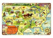 Decor Stores Plaque 1930's Gunther's Beer Map Of Sport Records Metal Tin Sign
