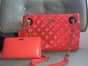 Kate Spade Gold Coast Maryanne With Wallet Coral Quilted Leather Bag Large