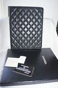 New Black Caviar Leather Quilted Cc Logo Ipad Tablet Case Holder Cover