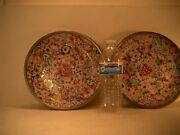 Vintage Isco Pewter Porcelain Trays Made In Hong Kong