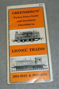 Vintage Lionel Model Trains Price List Guide Book Greenbergs Pre And Post War 1988