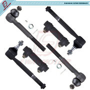 6pcs Front Inner Outer Tie Rod Ends For 1988-1998 99 Chevy Gmc K1500 K2500 K3500