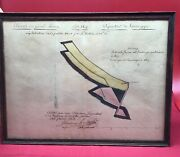 Antique 1808 French Drawing Mine Shaft Mining Rare Early Original Art Framed Map