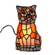 8.6in Animal Cat Mica Glass Table Lamp Stained Glass Accent Night Light Gift