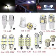 14x White Led Bulb For Car Map Dome License Plate Light Interior Package Kits