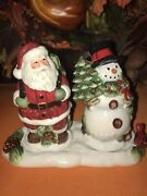 Christmas Santa And Snowman Salt And Pepper Shaker W/tray Ceramic By Cr New