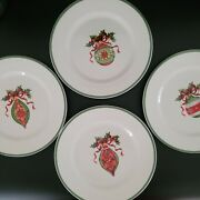 4 Christopher Radko Traditions Holiday Celebrations Ornament Salad Plates