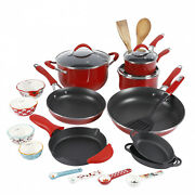 The Pioneer Woman Frontier Speckle 24-piece Cookware Combo Set Red