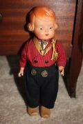 Rare Vintage 10 German Celluloid Girl Doll With Original Clothes