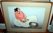 R.c. Gorman Hand Signed 1984 Lithograph Mimbres Framed 147/225 Taos Editions