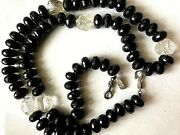 Rebecca Collins Faceted Onyx / Raw Crystal Long 42 S/s Signed Necklace Vtg Fab