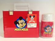 1980's Red Mickey Mouse Flip Top Zojirushi Lunch Box With Thermos From Japan