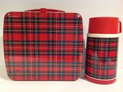 1980and039s Vintage Plaid Japanese Metal Lunch Box With Thermos From Japan Rare