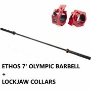 Ethos 7' Ft Olympic Barbell 45 Lb And Lockjaw Collars - 1000lb Capacity Home Gym