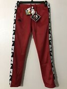Kappa X Disney Mickey Mouse Track Pants Button Up Unisex Red/black Sz 10y