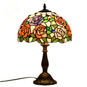18in Rose Mica Glass Style Table Lamp Stained Glass Antique Vintage Night Light