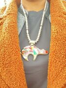 Frank Yellowhorse Inlay Stones Pendant 925 And Necklace