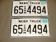 Pair Of Nebraska License Plates Truck 65-4494 Box Butte County With 1999 Sticker