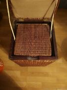 Tall Wicker Basket With Liner And Lid For Storage Toys Laundry / Lot Of 2