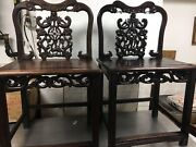 Pair Of Chinese Antique Rosewood Hand Carved Chairs