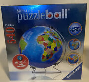 Ravensburger Metallic 540 Piece Earth Puzzleball 3d New And Sealed