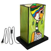 12in Abstract Art Mica Style Table Lamp Stained Glass Night Light For Bedroom