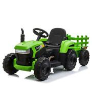 Tobbi Ride On Tractor And Trailer 12v Battery Powered Agricultural Vehicle Toy W