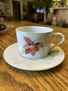 Vtg Cup/saucer By Block Spal Watercolors Poinsettia Christmas Portugal Several