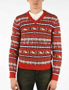 Gg Printed Fair Isle Jacquard Holiday V-neck Red Wool Sweater Mens Small