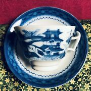 Mottahedeh Blue Canton Footed Tea Cup And 5.5andrdquo Saucer Vista Allegre Portugal