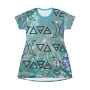 All Over Print T-shirt Dress    Wiccan Goddess Earth Air Fire Water Symbology