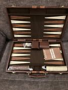 Vintage Backgammon Set Bakelite Game Pieces In Leather Like Suit Case