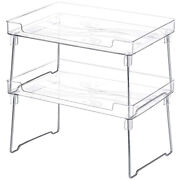 20xkitchen Cabinet And Counter Shelf Organizer Clear Stackable Storage Shelves
