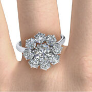 Round Cut 1.20 Ct Real Diamond Engagement Ring 14k White Gold Size 6 8 9.5