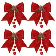 10x4pcs Christmas Bow Christmas Tree Bow Glitter Sequin Bow Ties For Home
