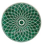 36 Inches Green Stone Geometrical Pattern Office Table Top Marble Dinning Table