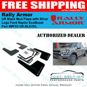 Rally Armor Ur Black Mud Flaps With Silver Logo - 2017-2021 Ford Raptor Ecoboost