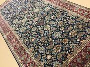 6andrsquo X 12andrsquo Navy Blue Red Fine Traditional All-over Hand Knotted Oriental Rug Wool