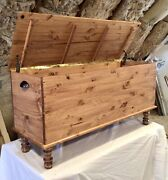 Usa Handmade Amish Style Blanket Hope Chest Vintage Farmhouse Solid Wood Trunk
