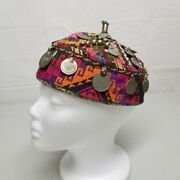 Antique Bedouin Color Headdress Hat W/ Silver Pakistan Coins And Trinkets Handmade