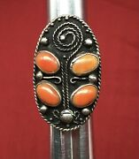Antique Huge Native American Silver And Coral Ring Large Amazing Fine Beautiful