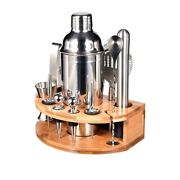 5x25oz Bartender Kit With Stylish Bamboo Stand 12 Piece Cocktail
