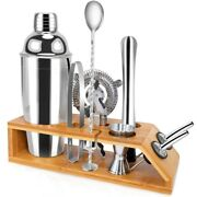 5xcocktail Shaker Set With Stand-10 Pieces Stainless Steel Bartender Kit
