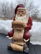 Santa Clause Store Display 3 Ft. Statue Sitting Christmas Good Boys And Girls List